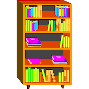 Books on shelf clip art.