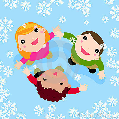 Kids playing in the snow clipart.
