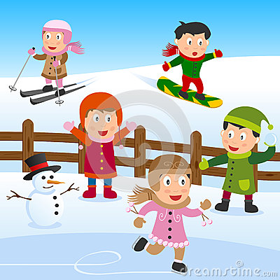 Playing in the Snow Clip Art.