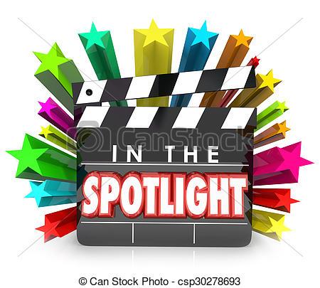 Stock Illustration of In the Spotlight Movie Clapper Stars.