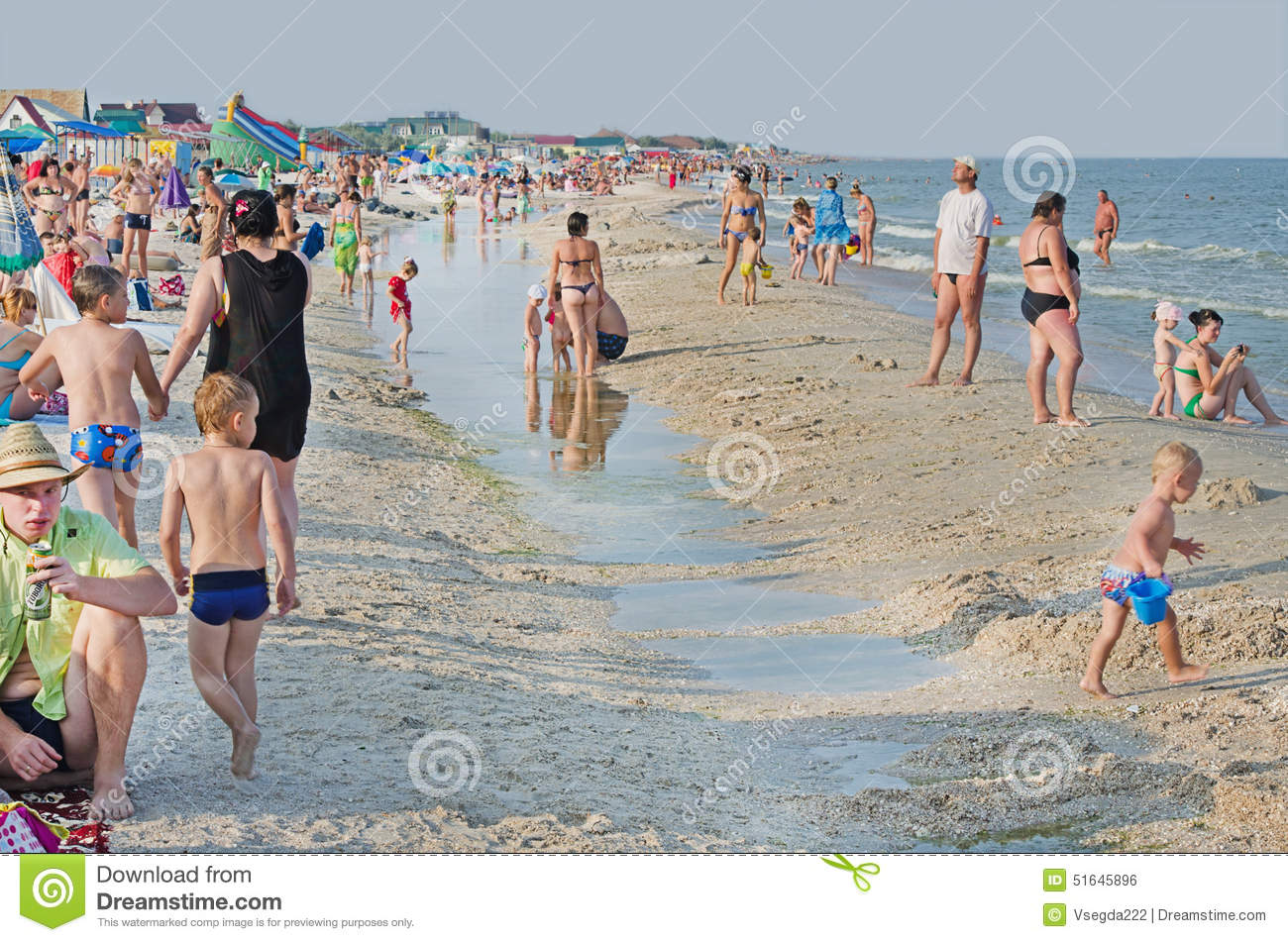 Sea Of Azov. Many People On The Sea Beach In The Village Kirilovka.