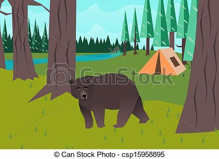 EPS Vectors of Bear in the woods vector csp15958895.