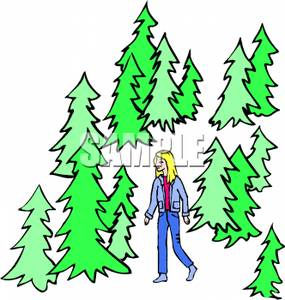 Walking in the Woods Clip Art.