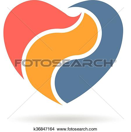 Clipart of Abstract Heart in three parts Logo design. Vector.