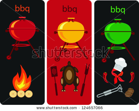 Set Icons Bbq,Picnic Objects In Three Parts Stock Vector.