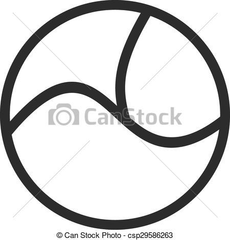 Clip Art Vector of Circle with three parts.