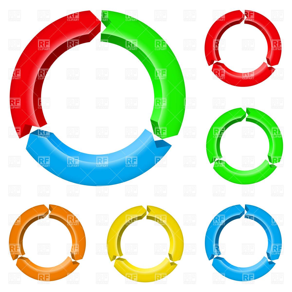 Three parts arrow circles Vector Image #7463.