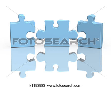 Stock Photo of Three parts of a puzzle k1193983.