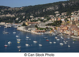 Stock Image of Charming Bay on the Cote d'Azur in Villefranche.