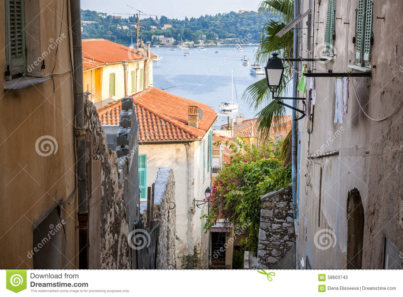 Old Town Street Villefranche Sur Mer Stock Photos, Images.