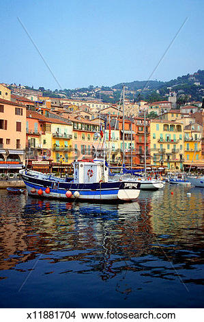 Stock Photo of Boats docked at a harbor, Villefranche.