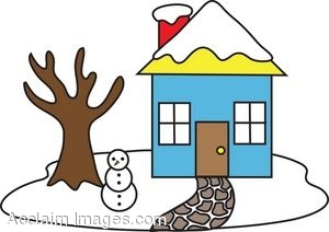 House in winter clipart.