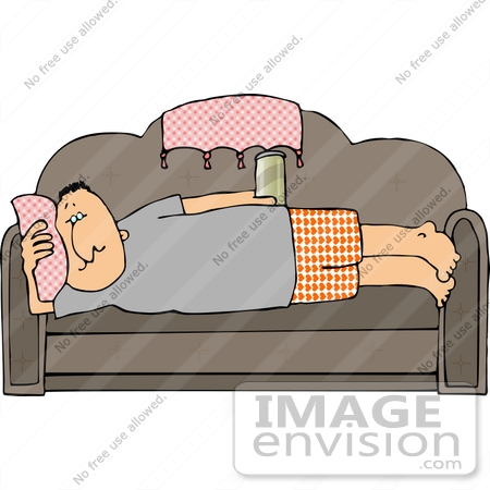 Middle Aged Sedentary Cacuasian Man Being a Lazy Couch Potato.