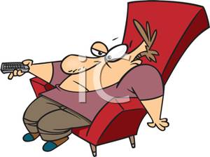 Cartoon of a Man In a Lazyboy Chair with a Television Remote.