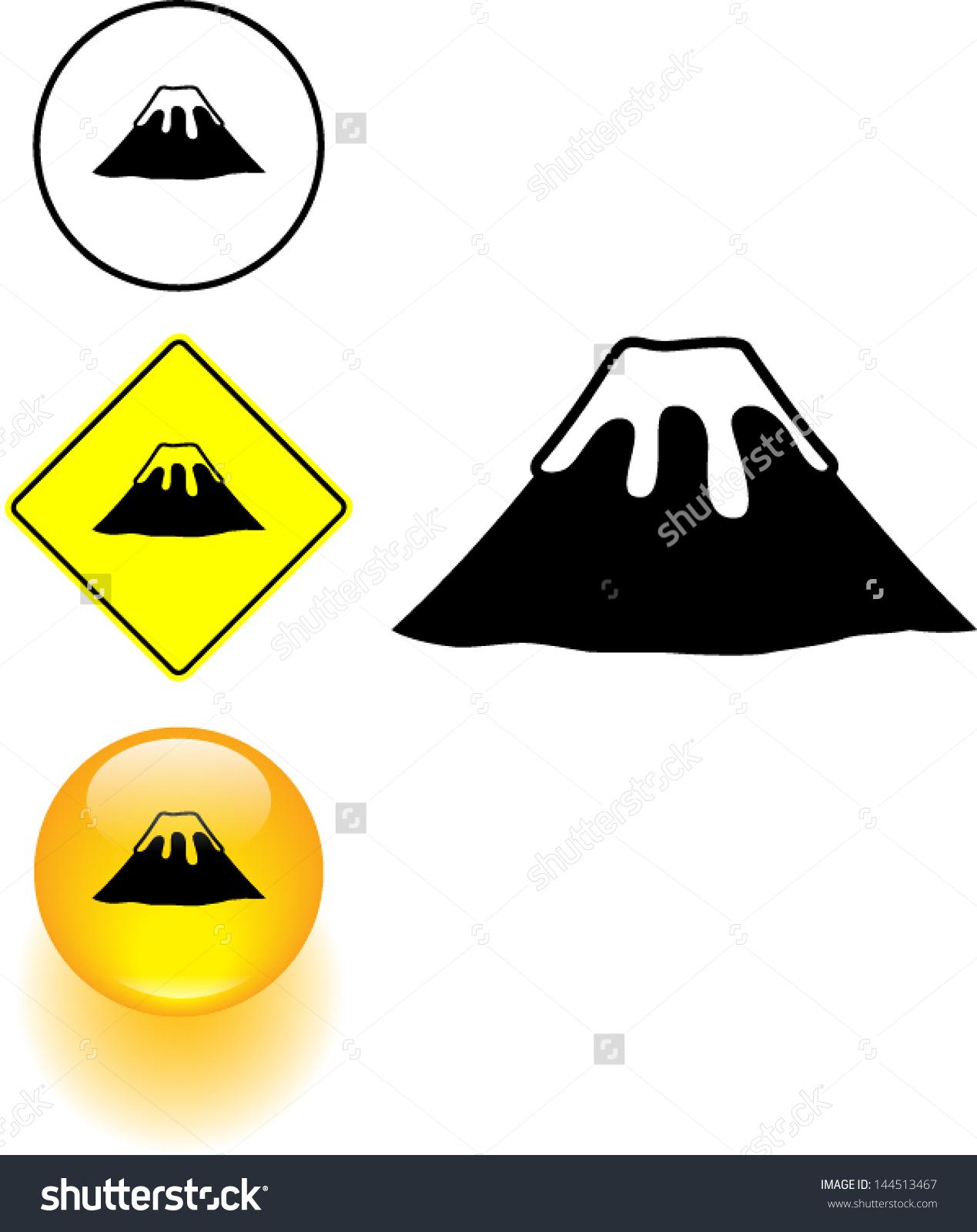 Inactive Volcano Symbol Sign Button Stock Vector 144513467.