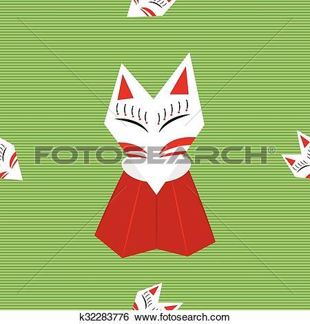 Clip Art of Inari Fox Green Background k32283776.