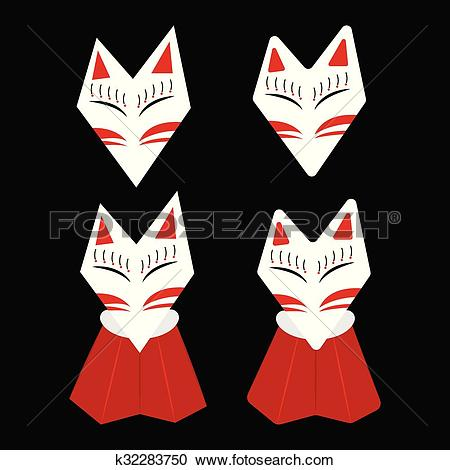 Clipart of Inari Fox Kitsune White Face k32283750.