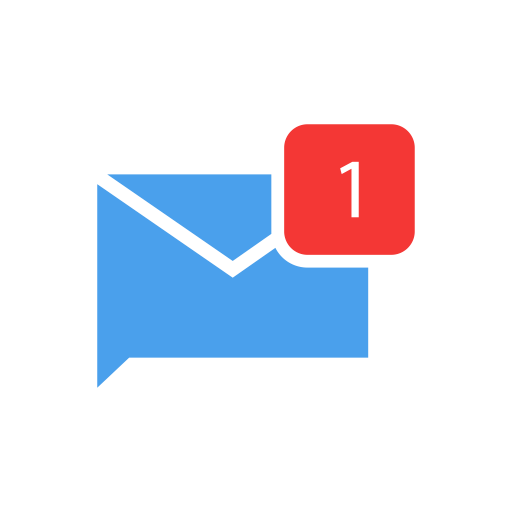 Comments, inbox, message, one message icon.