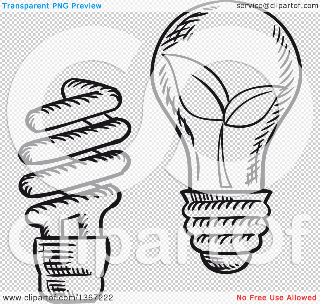 Clipart of Black and White Sketched Spiral and Incandescent Light.