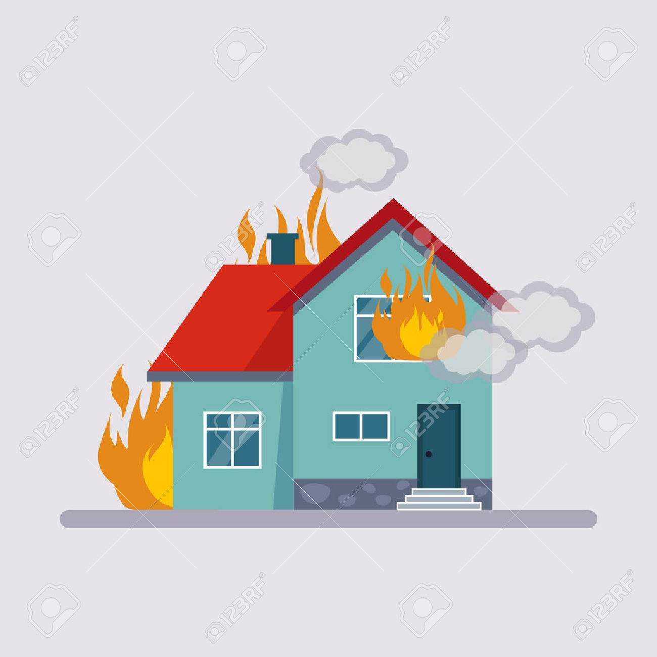 Estilo plano Ilustración colorida de seguros de incendio.