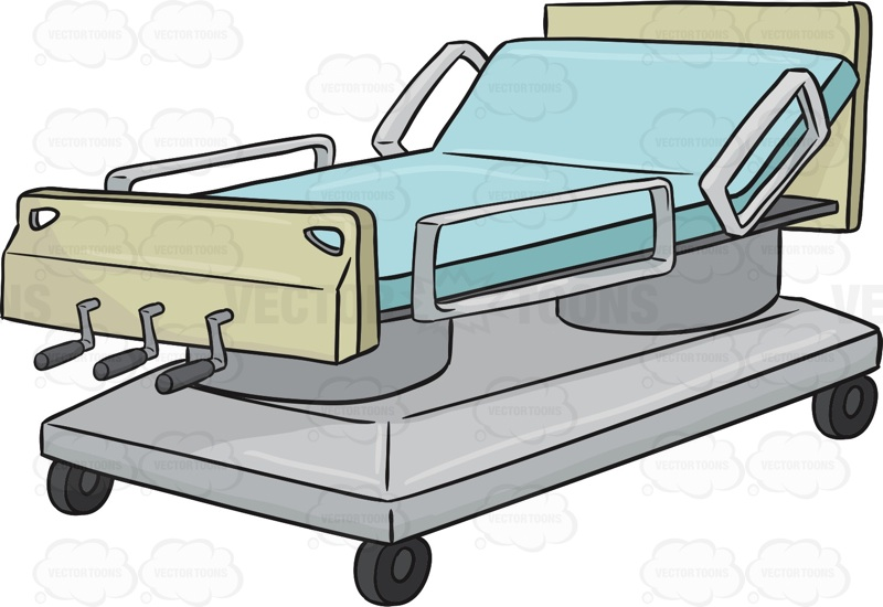 Hospital Bed With The Head Of The Bed On An Incline Cartoon Clipart.