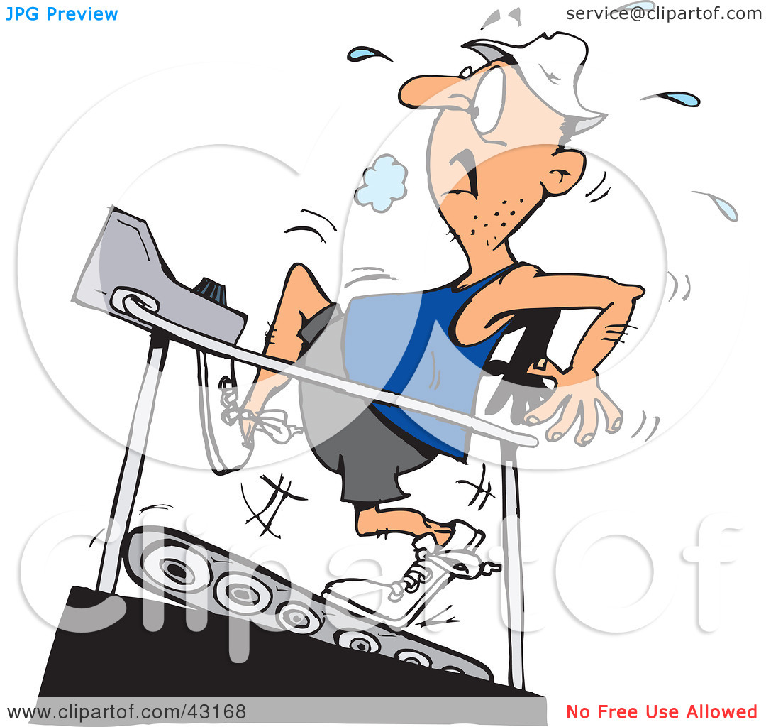 Clipart Illustration of a Sweaty Man Running On A High Incline On.