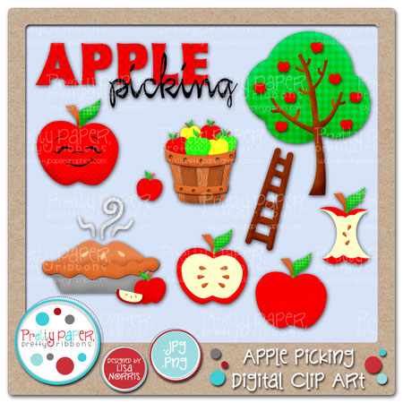 Apple Picking Digital Clip Art Images Included Apple Apple Core.