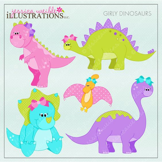 Girly Dinosaurs clipart set comes with 5 cute graphics including.