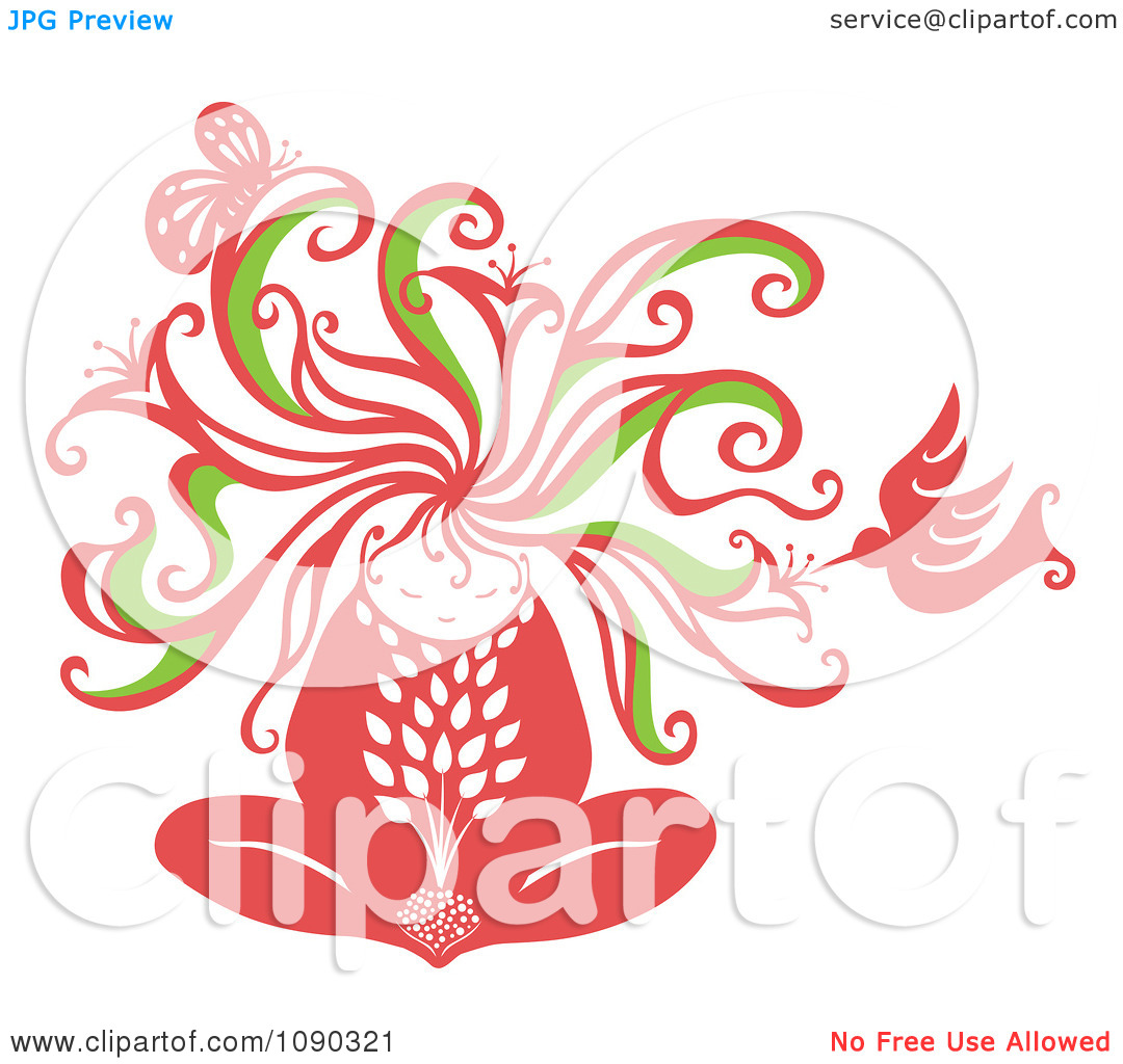 Clipart Woman Becoming One With Nature Including A Hummingbird And.