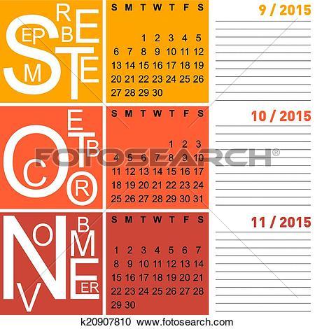 Clipart of jazzy seasonal calendar autumn 2015 including september.