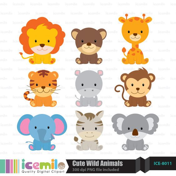 This digital clipart set including 9 Cute Wild Animals. Each.