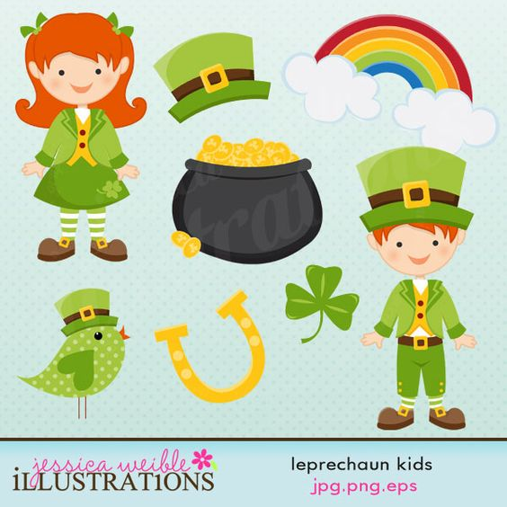 This cute Leprechaun Kids clipart set comes with eight graphics.