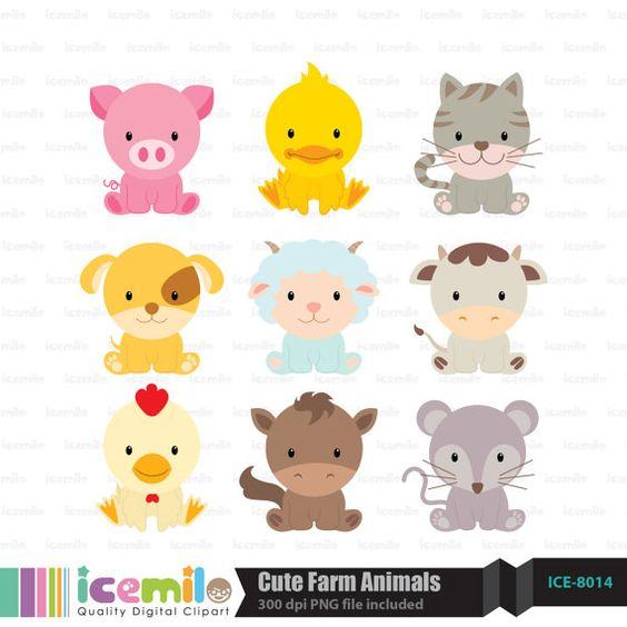 This digital clipart set including 9 Cute Farm Animals. Each.