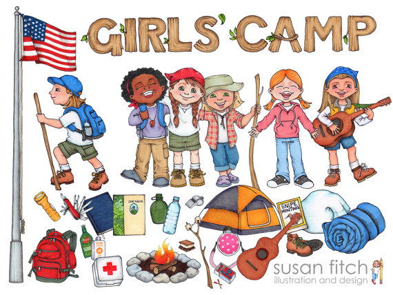 LDS Girls' Camp digital clip art pack including campers, their.