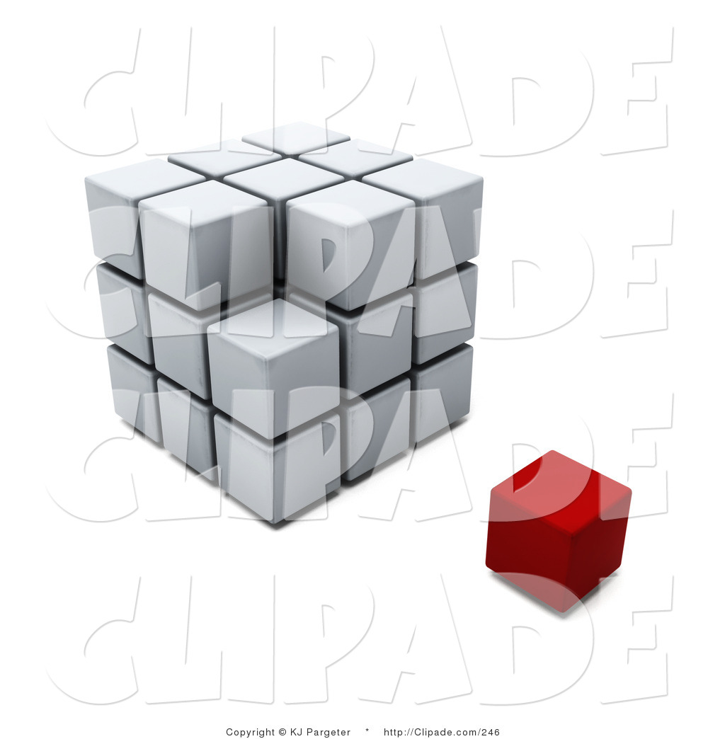 Clip Art of a Red Block Cube Resting Beside an Incomplete Puzzle.