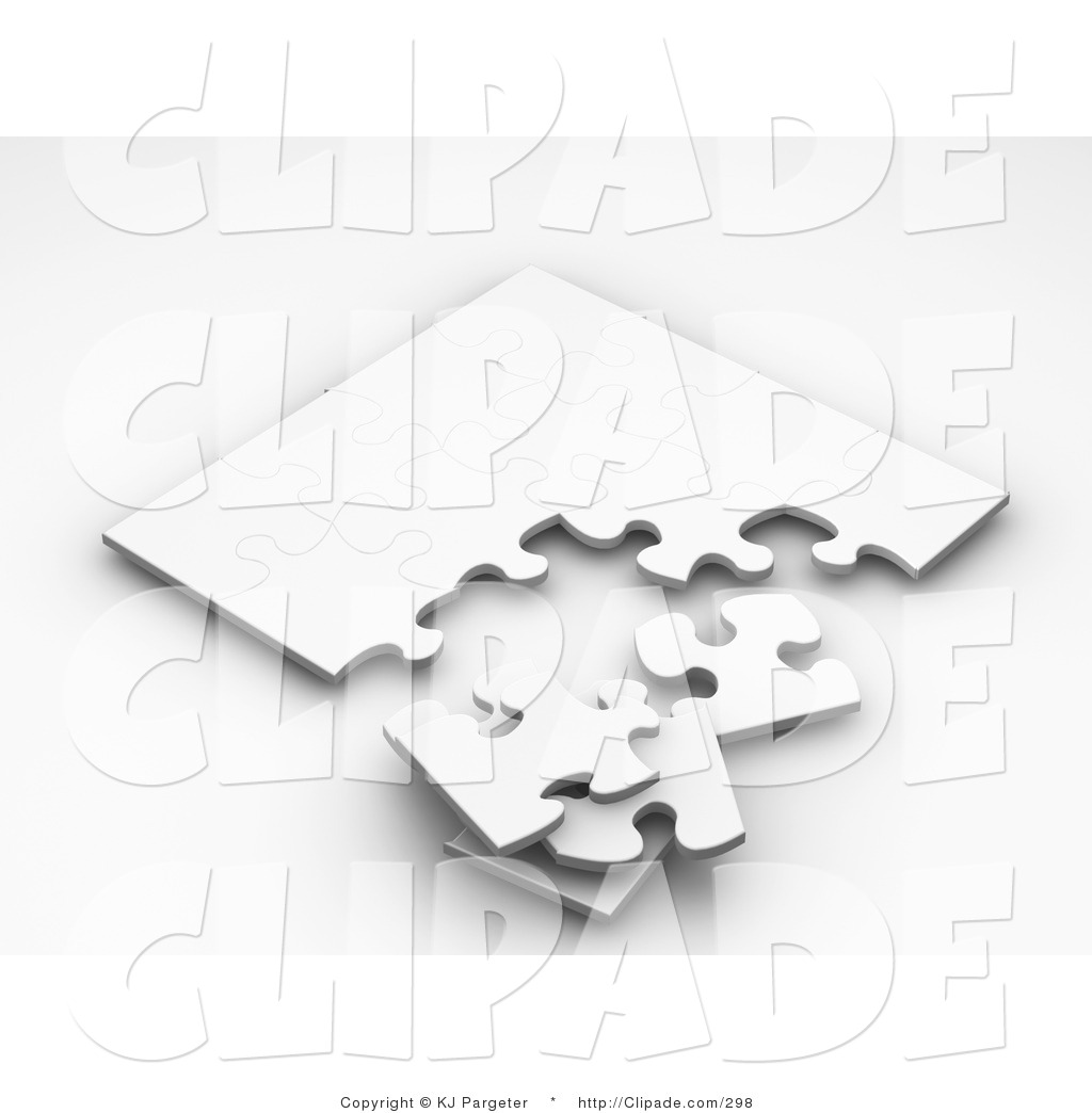 Clip Art of a Stack of Pieces Resting by an Incomplete White.