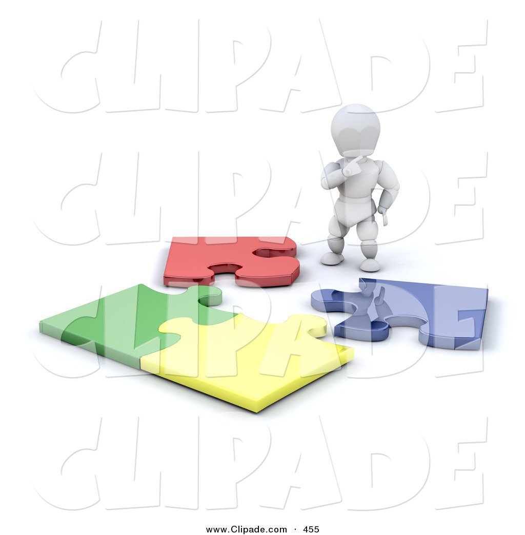 Clip Art of a White Character Man Standing and Looking down at an.