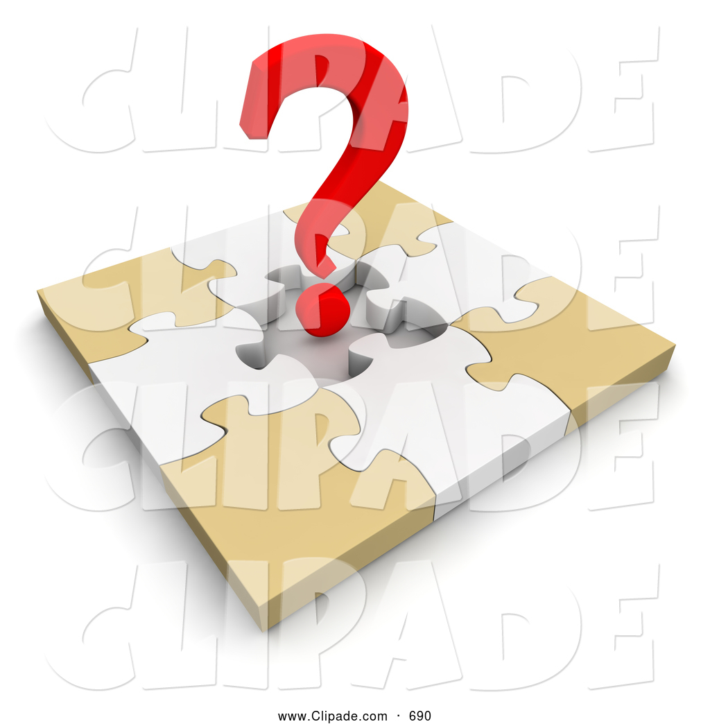 Clip Art of a 3d Red Question Mark over an Incomplete Puzzle on.