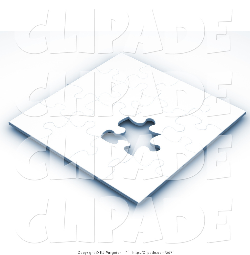 Clip Art of an Incomplete White Jigsaw Puzzle Game with One.