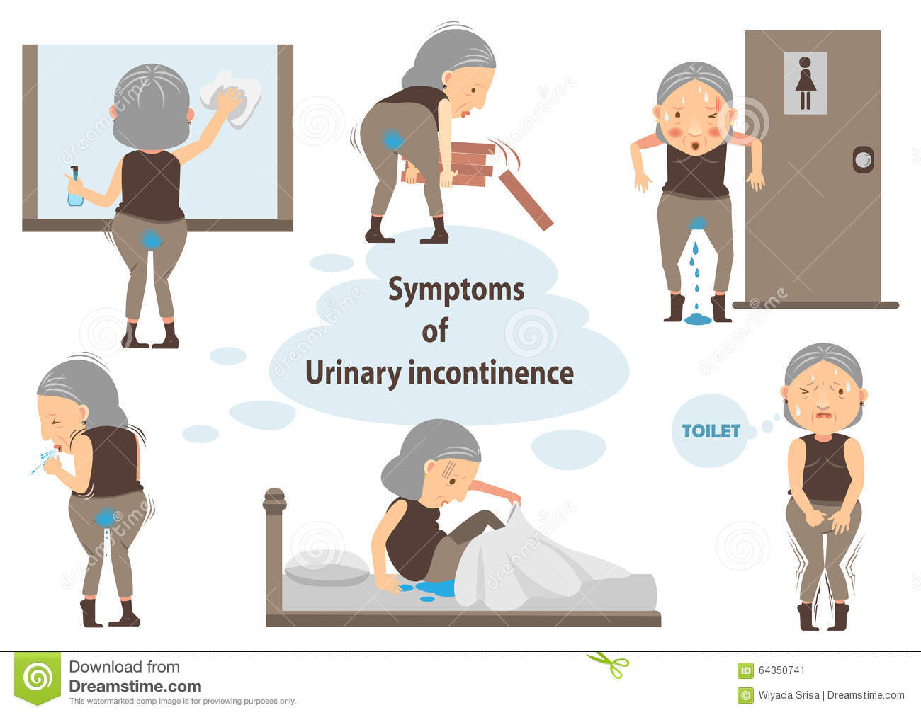 Urinary Incontinence Stock Vector.
