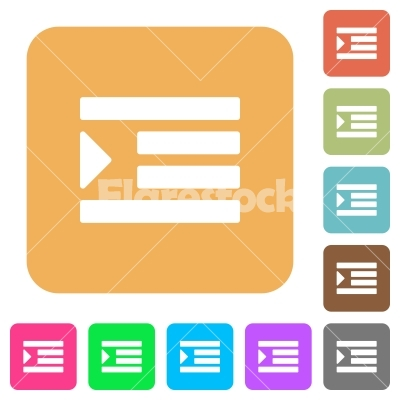 Increase text indentation rounded square flat icons.