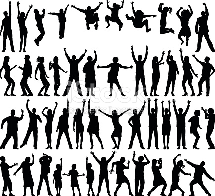 Free clipart of incredibly happy people.