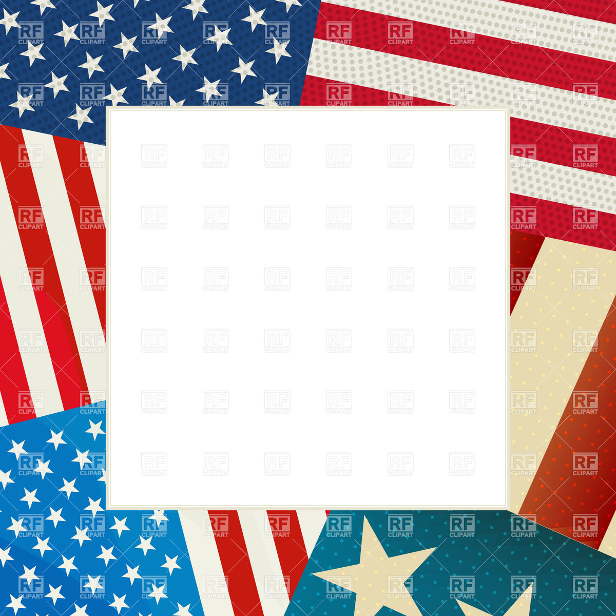 Independence Day card with copy space and USA flag Stock Vector Image.