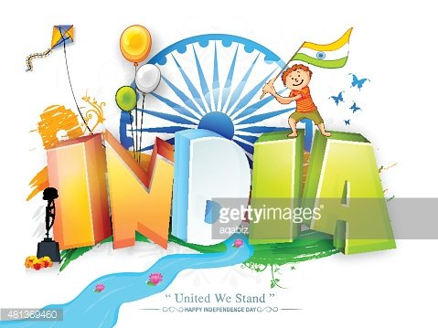 3D tricolor text India for Independence Day. Clipart Image.