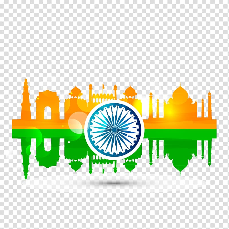 Happy independence day text overlay, Indian Independence Day.