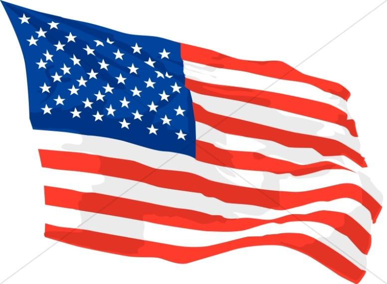 America Flag Waving in Wind.