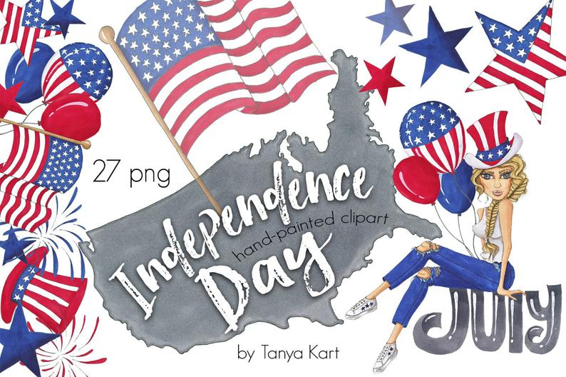 Independence Day Clipart, 4th Of July Clipart, Patriotic Clipart, Summer  Clipart, Hand.