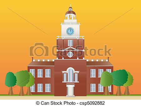 Clip Art of independence hall at sundown.
