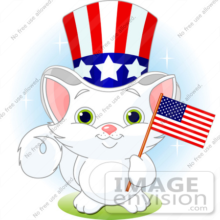 Clip Art Illustration Of An Adorable White Independent Kitten.