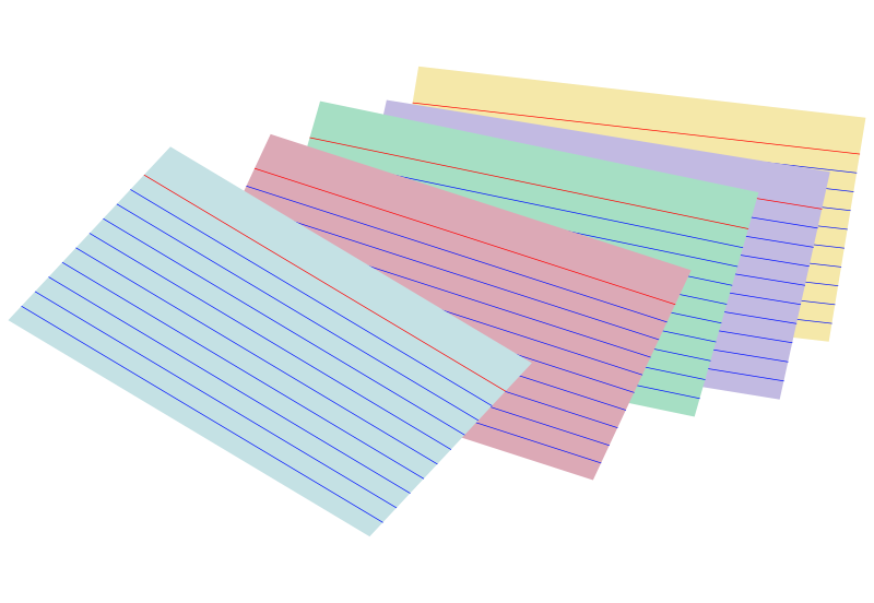 Free Clipart: Stack of colored index cards.